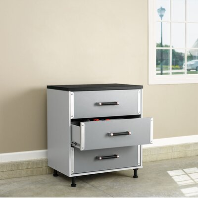 Sauder Tuff Duty Three Drawer Base Cabinet in Polished Silver