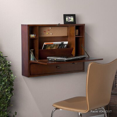 Wildon Home ® Grants Wall-Mount Laptop Desk in Brown Mahogany