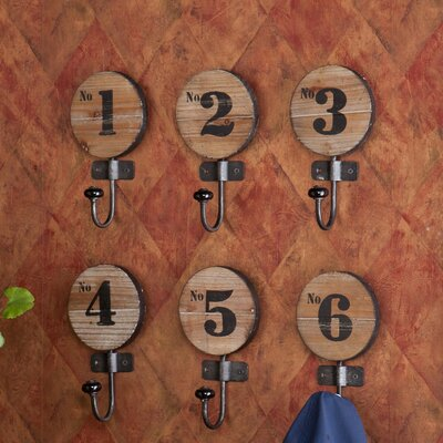 Wildon Home ® Maesa Decorative Numbered Hook (Set of 6)