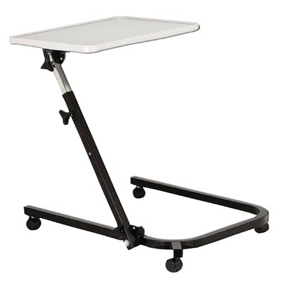 Drive Medical Pivot and Tilt Adjustable Overbed Table Tray in Gray and Black