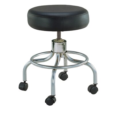 Wheeled Round Stool in Black