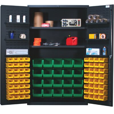 "Quantum Storage 48"" Wide Welded Storage Cabinet with 84 Ultra Bins"