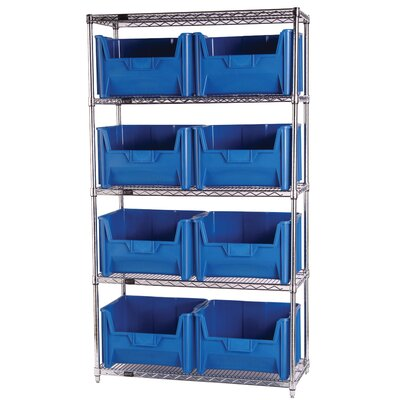 "Quantum Storage Q-Stor 5 Shelf Unit with Giant Hopper Bins (74"" H x 36"" W x 18"" D) with Optional Mobile Kit"