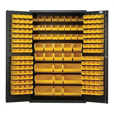 "Quantum Storage 48"" Wide Welded Storage Cabinet with 171 Ultra Bins"