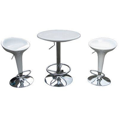 Boraam Industries Inc Luna Adjustable 3 Piece Pub Set in White