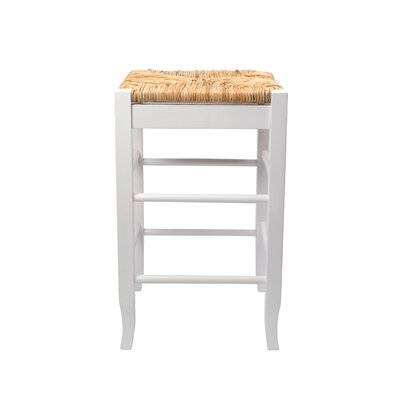 "Boraam Industries Inc 24"" Rush Seat Counter Stool in White"