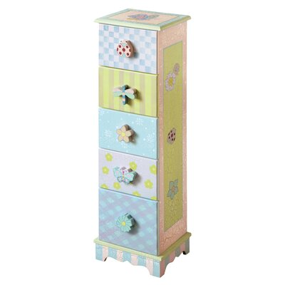 Teamson Kids Crackled Rose 5-Drawer Cabinet