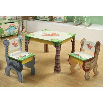 Dinosaur Kingdom Children's 3 Piece Table and Chair Set