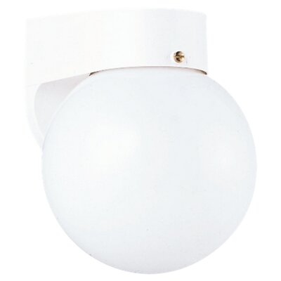 Sea Gull Lighting Outdoor Round Wall Lantern in White