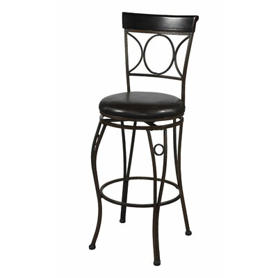 "Linon 24"" Circles Back Counter Stool in Brown and Black"