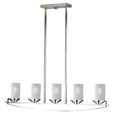 Finley Five Light Kitchen Island Pendant in Polished Nickel