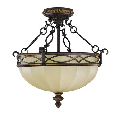Feiss Edwardian 3 Light Semi Flush Mount