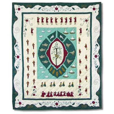Twelve Days of Christmas Cotton Throw Quilt Lap Throw Quilt