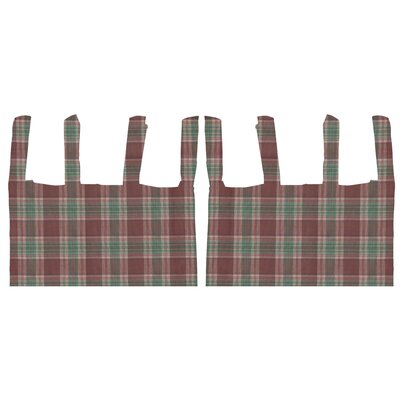 Brown and Green Plaid Cotton Bed Curtain
