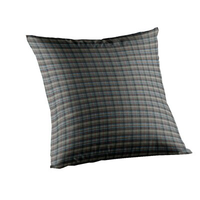 Navy and Light Blue Plaid Fabric Toss Pillow