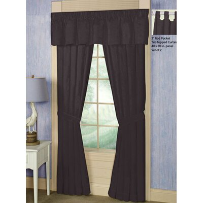 Patch Magic Black Solid Cotton Tab Top Curtain Panel Pair