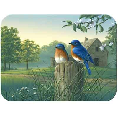 McGowan Tuftop Country Morning Bluebirds Cutting Board