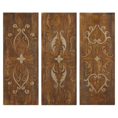 Uttermost Elegant Swirl Panel Wall Art in Antique Glaze (Set of 3)