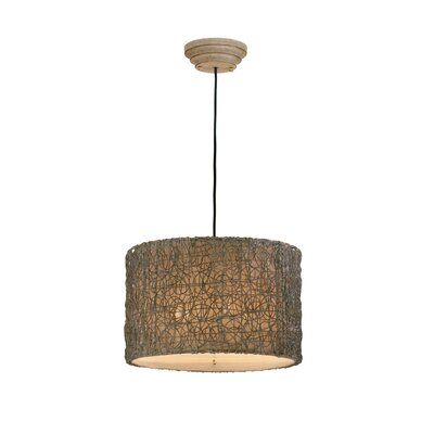 Uttermost Woven Rattan 3 Light Drum Foyer Pendant