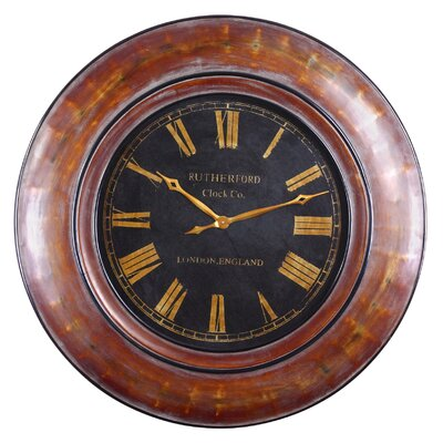 Tyrell Wall Clock in Distressed Walnut Brown