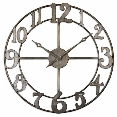 Uttermost Delevan Clock in Antiqued Silver Leaf