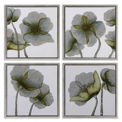 "Uttermost 4 Piece Mini Floral Glow by Grace Feyock Wall Art Set - 22""x22"""