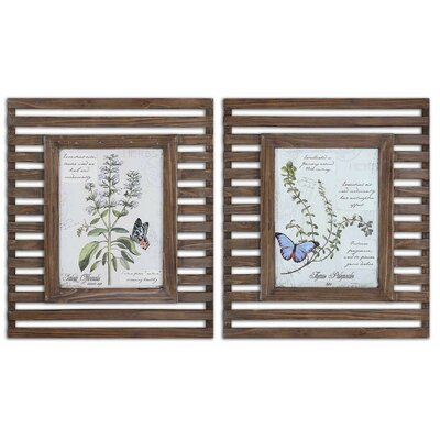Herbs & Butterflies Wood Framed Art