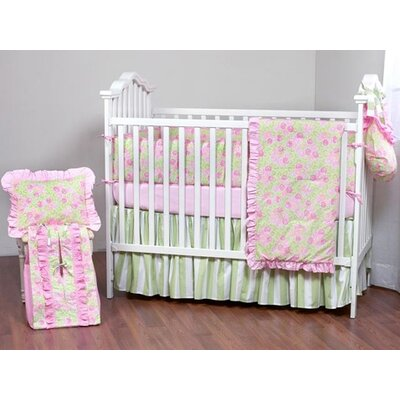 Bacati Flower Basket Pink and Green Crib Bedding Collection
