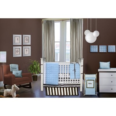 Bacati Quilted Circles Blue and Chocolate Crib Bedding Collection