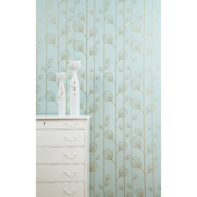 ferm LIVING Ribbed Wallsmart Wallpaper in Turquoise / Gold