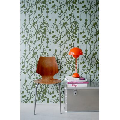 ferm LIVING Tree Bomb Wallsmart Wallpaper in Green / Turquoise