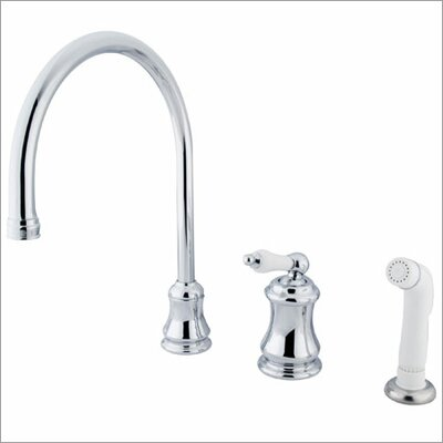 Elements of Design One Handle Widespread Kitchen Faucet with Porcelain Lever Handles