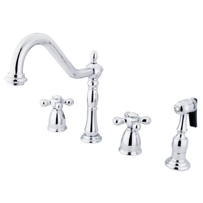 Elements of Design Heritage Two Handle Widespread Kitchen Faucet with Metal Cross Handles