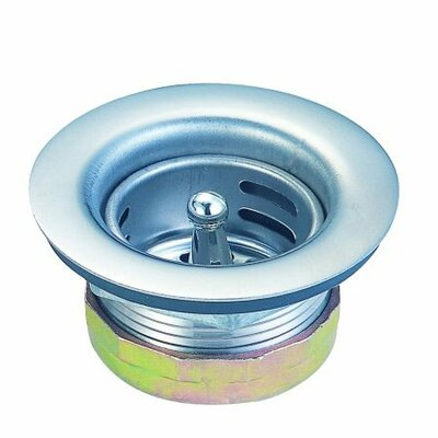 Elements of Design Stainless Steel Duo Strainer For Bar Sink with Brass Nut in Brushed Nickel