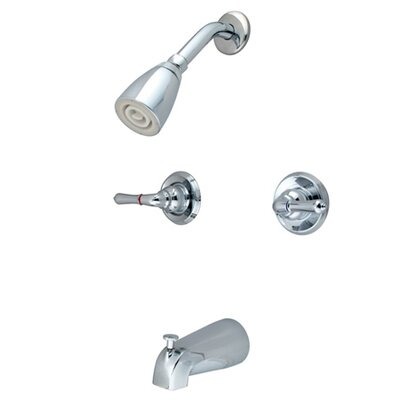 Elements of Design Diverter Tub and Shower Faucet with Modern Lever Handles