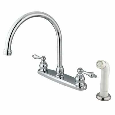 Elements of Design Victorian Double Handle Centerset Goose Neck Kitchen Faucet with Metal Lever Handles and White Side Spray