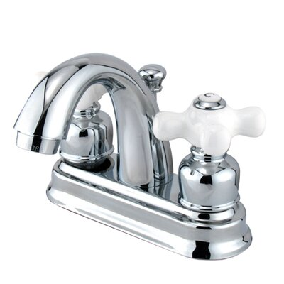 Elements of Design Chicago Centerset Bathroom Sink Faucet with Double Porcelain Cross Handles