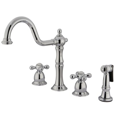 Heritage Double Handle Widespread Kitchen Faucet with Brass Side Spray and Metal Cross Handles