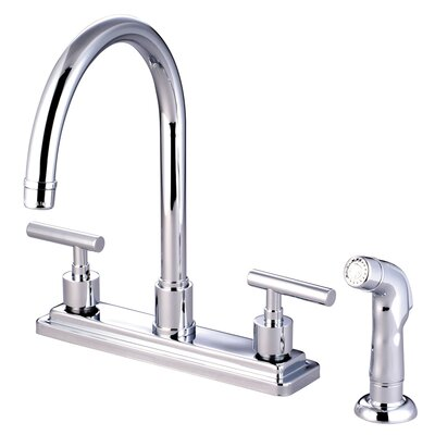 Elements of Design Manhattan Double Handle Single Hole Kitchen Faucet with Non-Metallic Sprayer