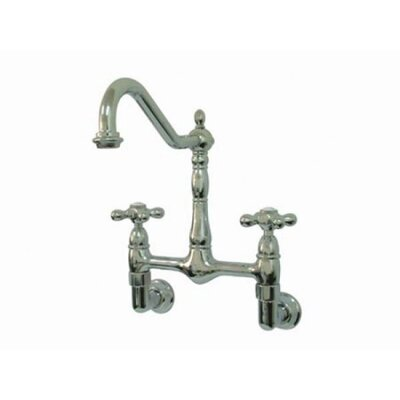 Heritage Two Handle Wall Mount Bridge Kitchen Faucet with Metal Cross Handles
