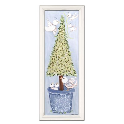 Doodlefish Bird Topiary Giclee in Blue