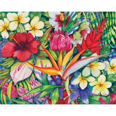 Magic Slice 12&quot; x 15&quot; Tropical Floral Design Cutting Board
