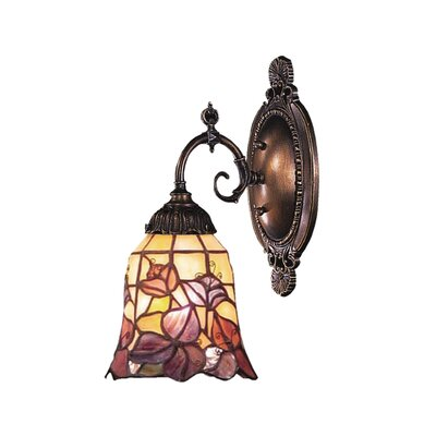Landmark Lighting Mix-N-Match 1 Light Wall Sconce with Flower Design Glass Shade