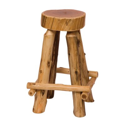 Fireside Lodge Traditional Cedar Log Round Pub Table and Outside Footrests Barstool Set