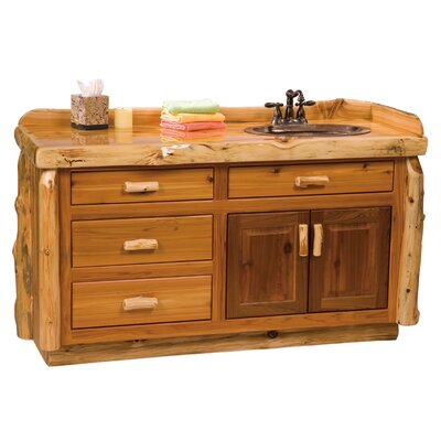 "Fireside Lodge Traditional Cedar Log 60"" Bathroom Sink Vanity"