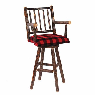 Fireside Lodge Hickory Swivel Stool with Arms and Unupholstered Seat