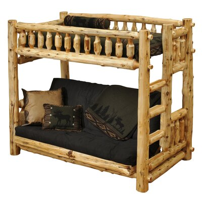 Fireside Lodge Traditional Cedar Log Single over Futon Bunk Bed with Built-In Ladder