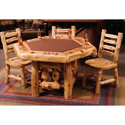 Fireside Lodge Cedar Log 6 Sided Poker Table with Log Framework Base