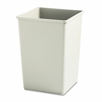 Rubbermaid Plaza Waste Container Rigid Liner, Square, Plastic, 35gal, Beige