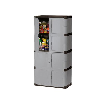 Rubbermaid Double-Door Storage Cabinet - Base / Top in Gray / Black